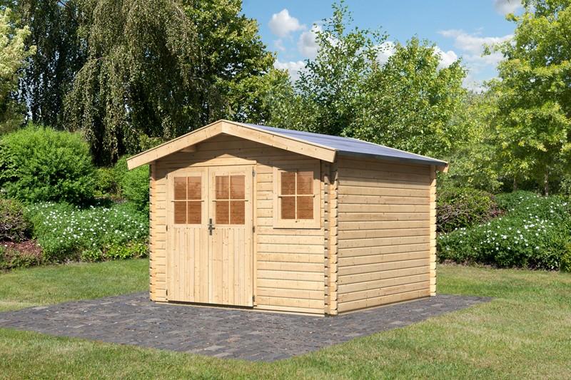 Woodfeeling Holz-Gartenhaus Felsenau 3 Satteldach 38 mm Blockbohlenhaus- natur