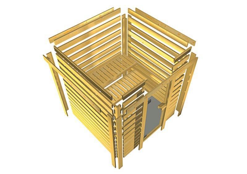 Woodfeeling 38 mm Massiv Sauna Mia Modern (Eckeinstieg) mit Dachkranz