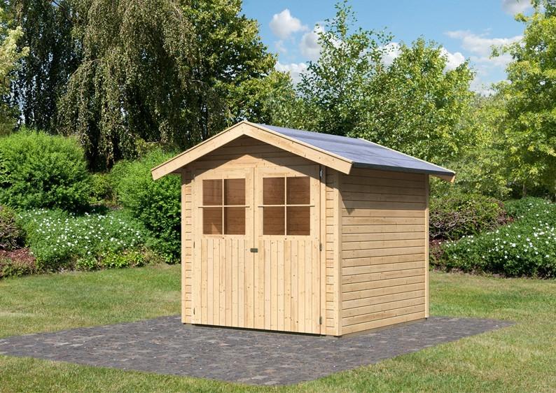 Karibu Holz-Gartenhaus Harburg 3 - 19 mm Schraub- Stecksystem   - naturbelassen
