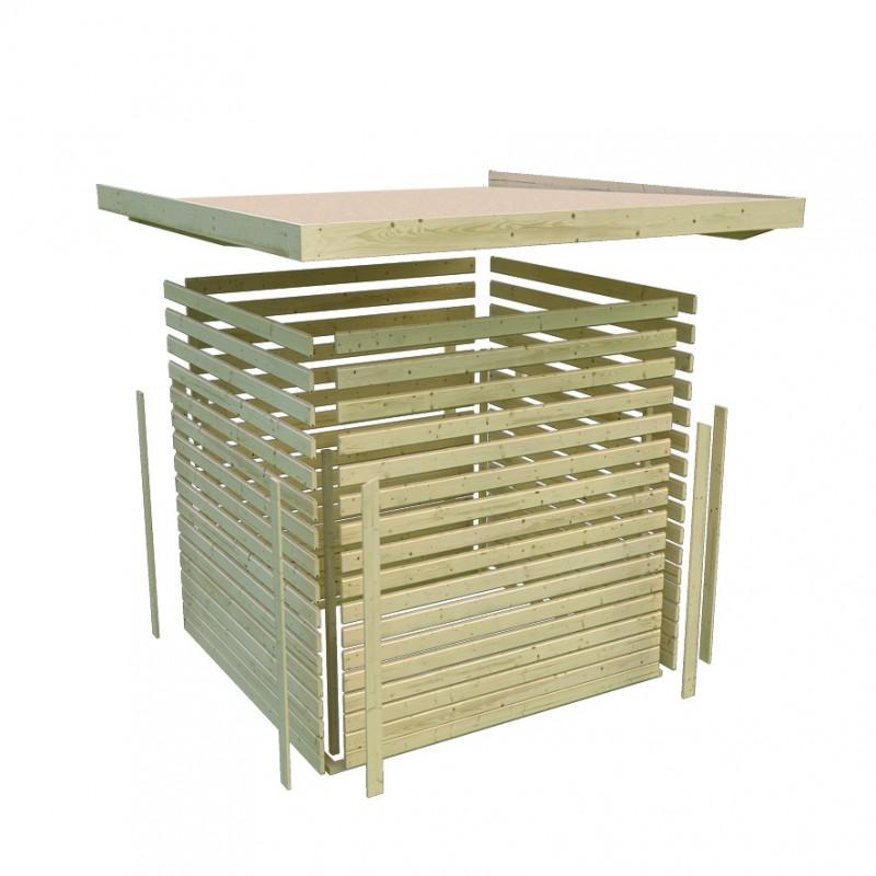 Karibu Woodfeeling Holz-Gartenhaus: Schwandorf 3 Pultdach 19 mm System - naturbelassen