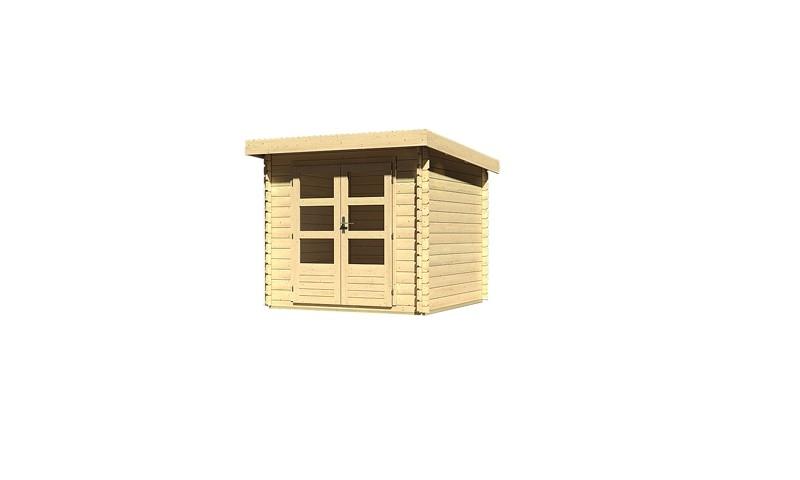 Woodfeeling Holz-Gartenhaus Pultdach Bastrup 2 - 28 mm Blockbohlen - naturbelassen