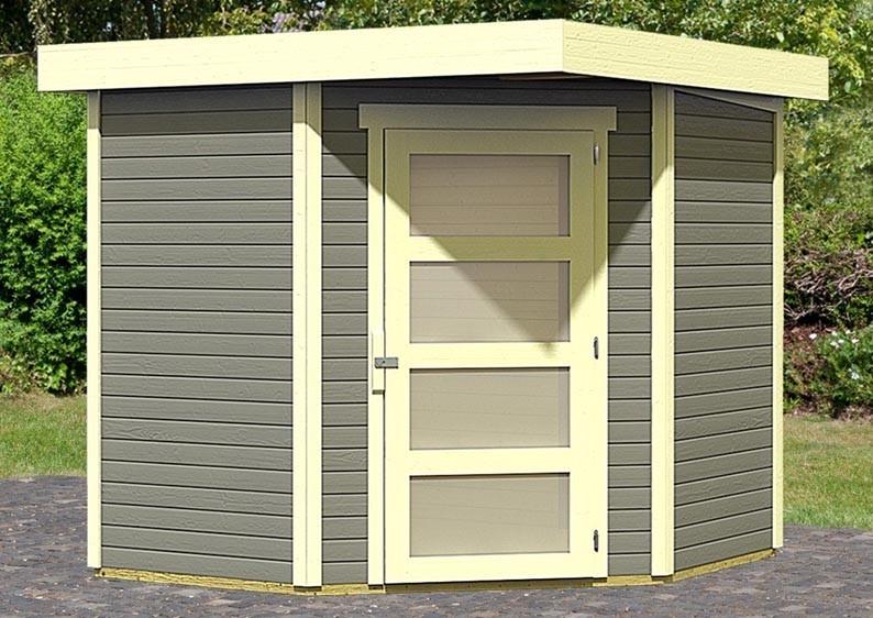 Karibu Woodfeeling Holz-Gartenhaus: Schwandorf 3 Pultdach 19 mm System - terragrau