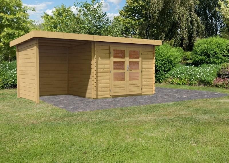 Woodfeeling Holz-Gartenhaus Pultdach Bastrup 3 - 28 mm - 2 m Schleppdach inkl. Seiten- und Rückwand