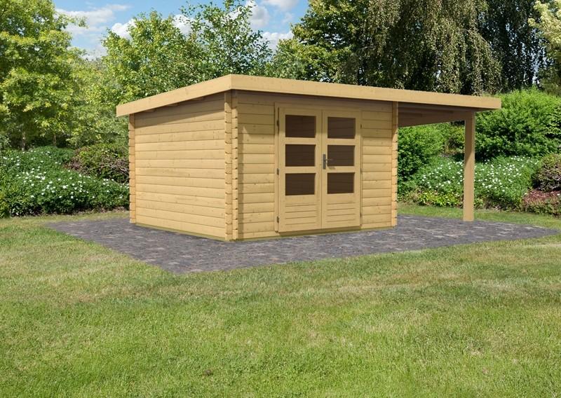 Karibu Woodfeeling Holz-Gartenhaus Pultdach Bastrup 5 - 28 mm mit 2 m Schleppdach