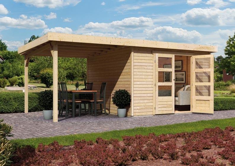 Woodfeeling Holz-Gartenhaus Askola 3 Pultdach 19 mm System - natur