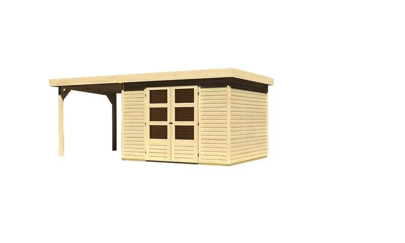 Woodfeeling Holz-Gartenhaus Askola 5 Pultdach 19 mm System inkl. Schleppdach - natur