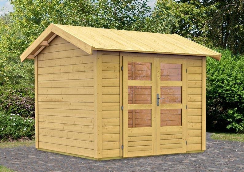 Woodfeeling Holz-Gartenhaus Tastrup 3 Satteldach 28 mm System - natur
