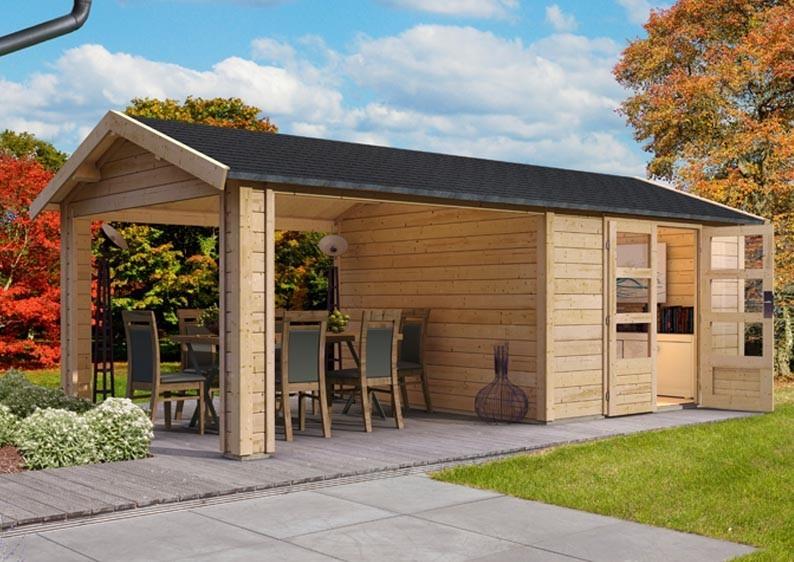 Woodfeeling Holz-Gartenhaus Tastrup 3 Satteldach 28 mm System mit 2x Dachausbau - natur