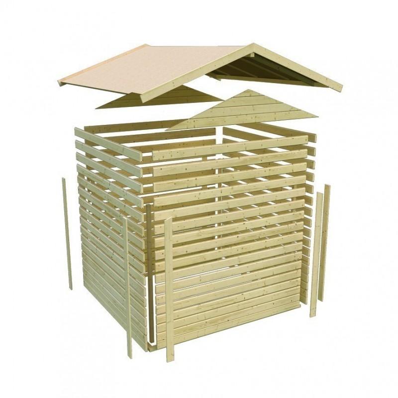Woodfeeling Holz-Gartenhaus Tastrup 7 Satteldach 28 mm System mit 1x Dachausbau - natur