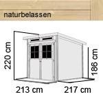Karibu Holz-Gartenhaus Glücksburg 3 - 19 mm Pultdach Schraub- Stecksystem - naturbelassen