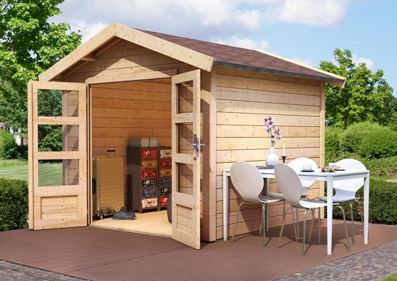 Woodfeeling Holz-Gartenhaus Tastrup 7 Satteldach 28 mm System mit 2x Dachausbau - natur