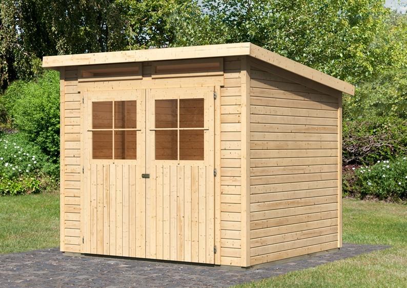 Karibu Holz-Gartenhaus Glücksburg 4 - 19 mm Pultdach Schraub- Stecksystem - naturbelassen