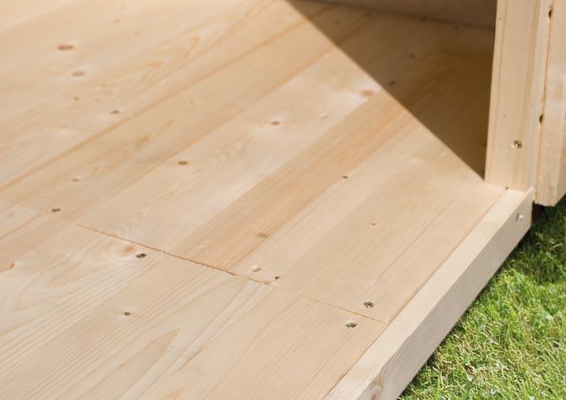 Woodfeeling Karibu Fußboden naturbelassen für Sockelmaß 3,10 x 3,10 m