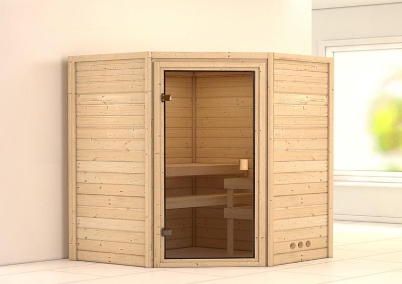 Woodfeeling 38 mm Massiv Sauna Franka Energiespartür (Eckeinstieg)