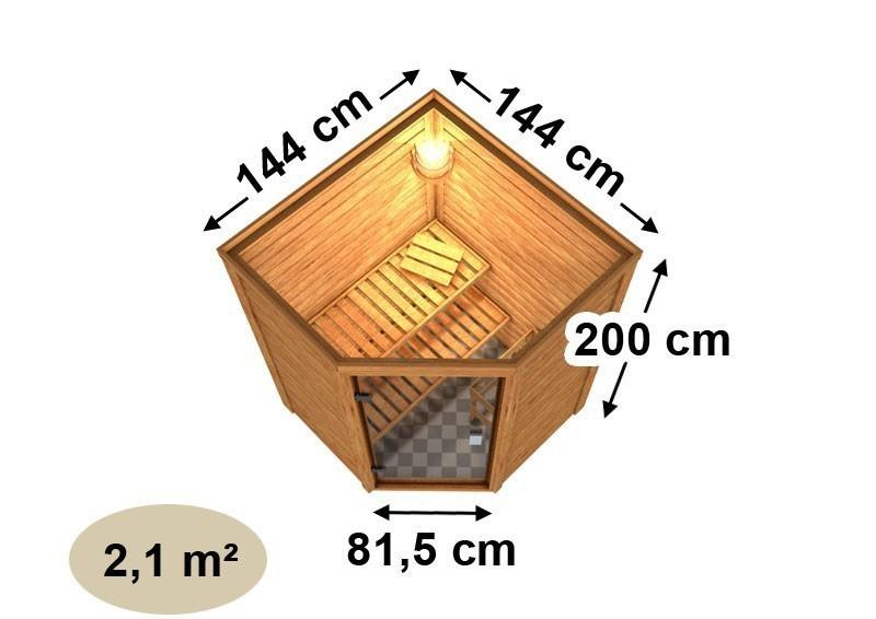 Woodfeeling 38 mm Massiv Sauna Franka Energiespartür (Eckeinstieg) mit Dachkranz