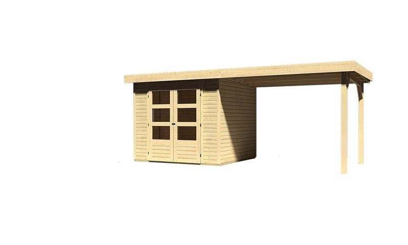 Sonderangebot: Woodfeeling Holz-Gartenhaus: Askola 3 im Set mit Anbaudach 2,60  m Breite - 19 mm Flachdach Schraub- Stecksystem  - naturbelassen
