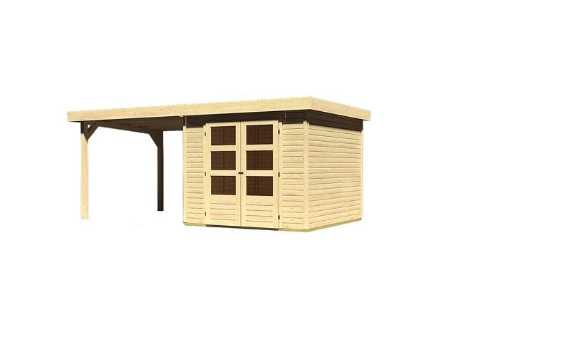 Sonderangebot: Woodfeeling Holz-Gartenhaus: Askola 3,5 im Set mit Anbaudach 2,60  m Breite - 19 mm Flachdach Schraub- Stecksystem  - naturbelassen
