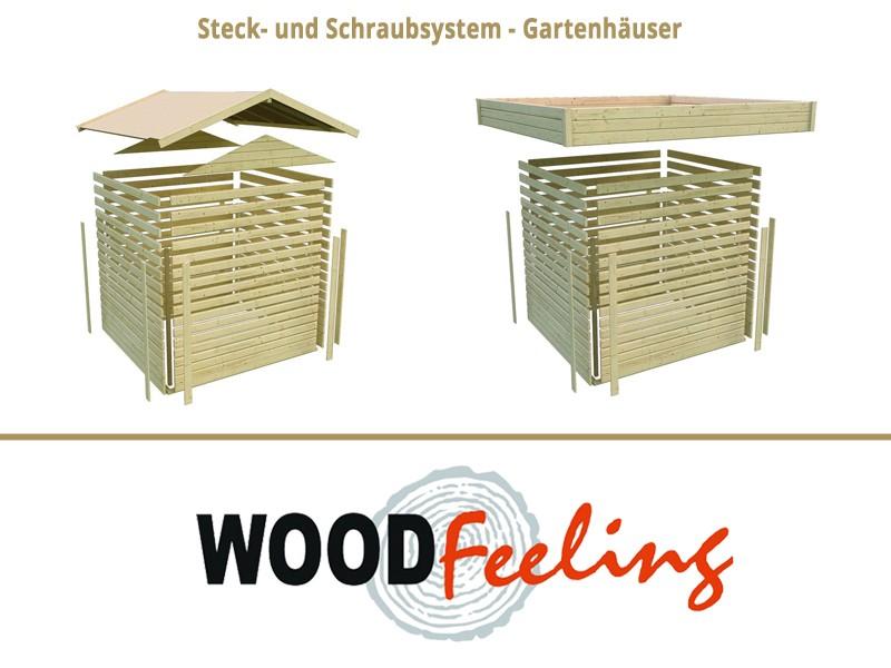 Sonderangebot: Woodfeeling Holz-Gartenhaus: Askola 5 im Set  mit Anbaudach 2,60  m Breite - 19 mm Flachdach Schraub- Stecksystem  - naturbelassen