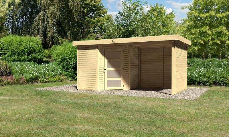 Karibu Woodfeeling Holz-Gartenhaus: Schwandorf 3 im Set mit Anbaudach 2,20 m Breite und 19 mm Seiten- und Rückwand - 19 mm Flachdach Schraub- Stecksystem  - naturbelassen