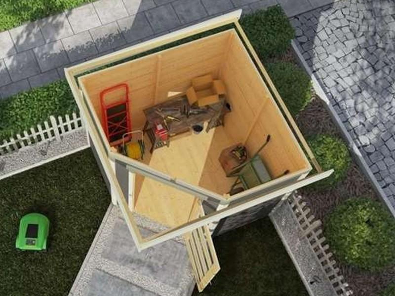 Karibu Woodfeeling Holz-Gartenhaus: Schwandorf 3 im Set mit Anbaudach 2,60 m Breite - 19 mm Flachdach Schraub- Stecksystem  - naturbelassen
