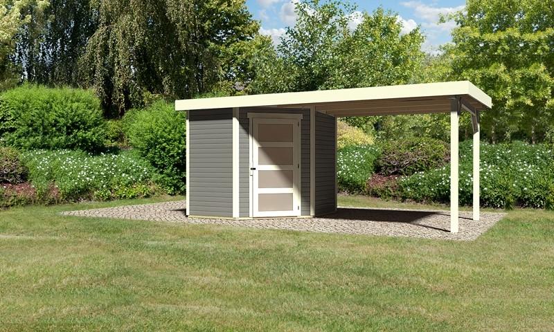 Karibu Woodfeeling Holz-Gartenhaus: Schwandorf 3 im Set mit Anbaudach 2,60 m Breite - 19 mm Flachdach Schraub- Stecksystem - terragrau