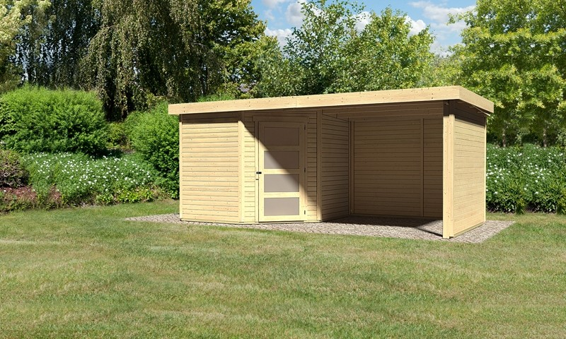 Karibu Woodfeeling Holz-Gartenhaus: Schwandorf 5 im Set mit Anbaudach 2,60 m Breite und 19 mm Seiten- und Rückwand - 19 mm Flachdach Schraub- Stecksystem  - naturbelassen