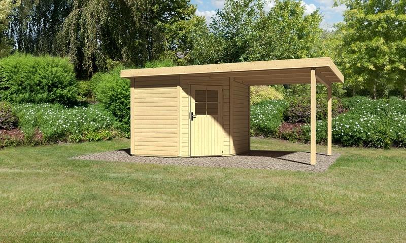 Sonderangebot: Woodfeeling Holz-Gartenhaus: Neuruppin 2 im Set mit einem Anbaudach Breite 2,35 m - 28 mm Flachdach Schraub- Stecksystem  - naturbelassen