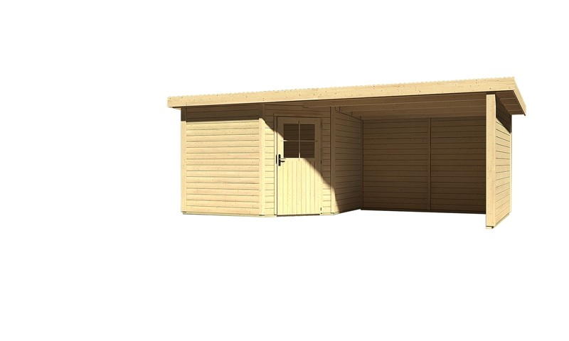 Sonderangebot: Woodfeeling Holz-Gartenhaus: Neuruppin 3 im Set mit einem Anbaudach Breite 2,95 m und 28mm Seiten- und Rückwand - 28 mm Flachdach Schraub- Stecksystem  - naturbelassen