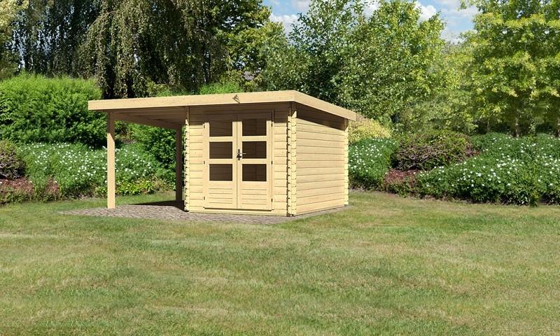 Sonderangebot: Woodfeeling Holz-Gartenhaus: Bastrup 4 im Set mit Schleppdach 2 m breit - 28 mm Blockbohlenhaus mit Pultdach  - naturbelassen