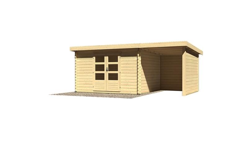 Sonderangebot: Woodfeeling Holz-Gartenhaus: Bastrup 7 im Set mit Schleppdach 2 m breit, 28 mm Seiten - und Rückwand - 28 mm Blockbohlenhaus mit Pultdach  - naturbelassen