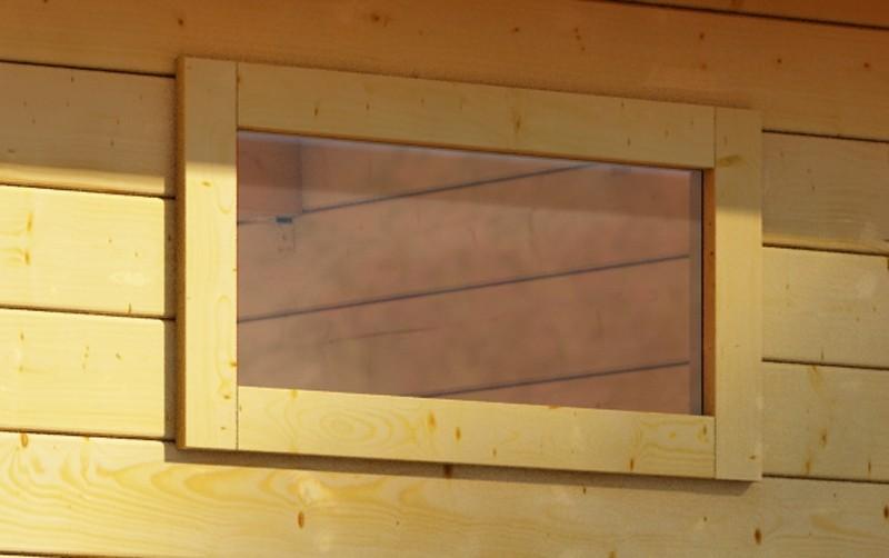 Woodfeeling 28 mm längliches feststehendes Fenster   - elfenbeinweiß