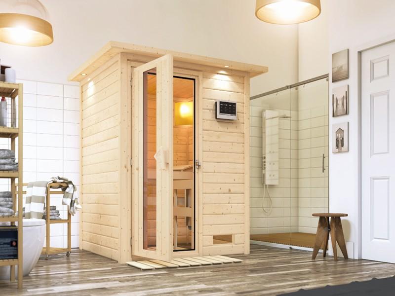 Woodfeeling 38 mm Massiv Sauna Svenja  (Fronteinstieg) mit graphitfarbender Saunatür ohne Dachkranz