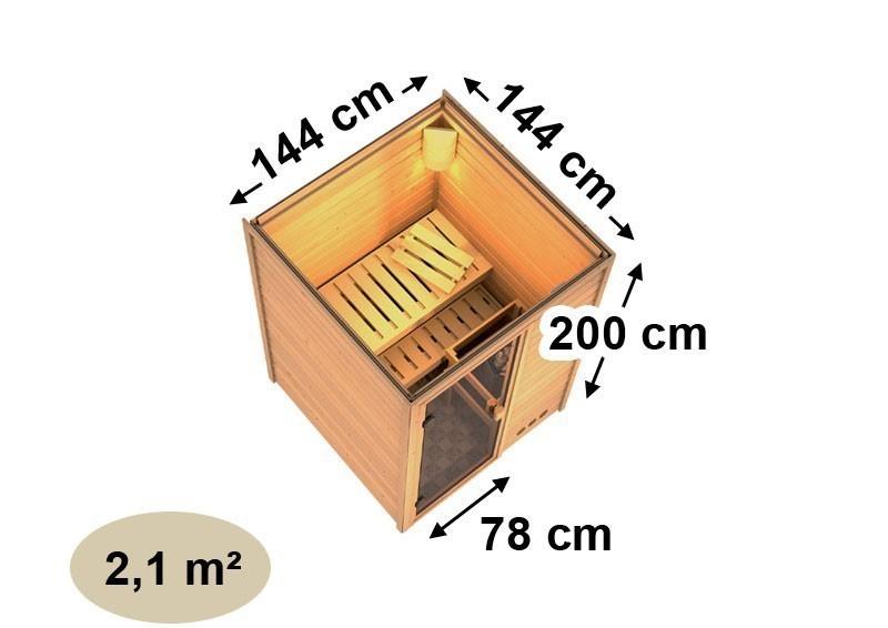 Woodfeeling 38 mm Massiv Sauna Svenja Classic (Fronteinstieg) mit Dachkranz und klarglas Ganzglastür