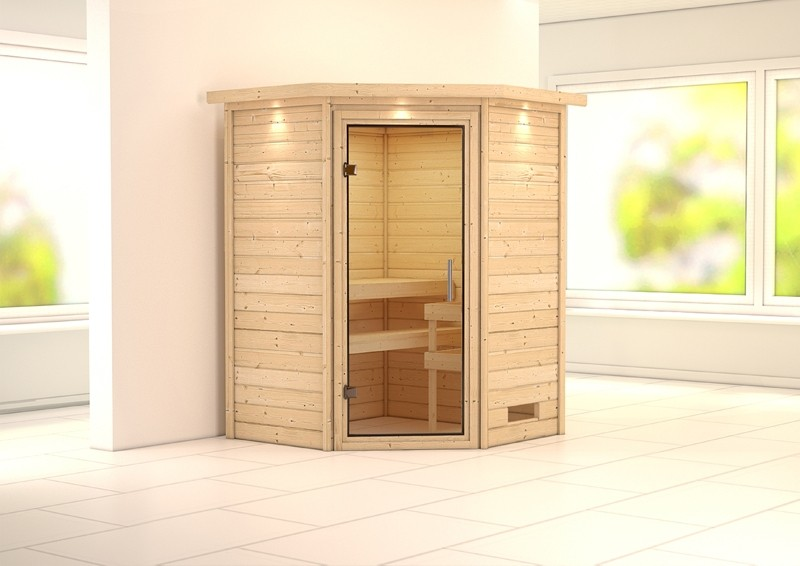 Woodfeeling 38 mm Massiv Sauna Franka klarglas Ganzglastür(Eckeinstieg) mit Dachkranz