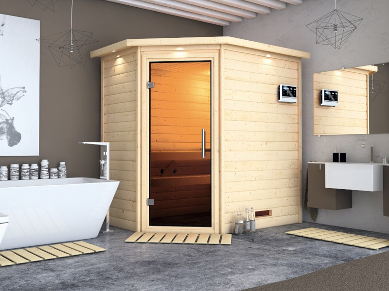 Woodfeeling 38 mm Massiv Sauna Svea klarglas Ganzglastür (Eckeinstieg) mit Dachkranz