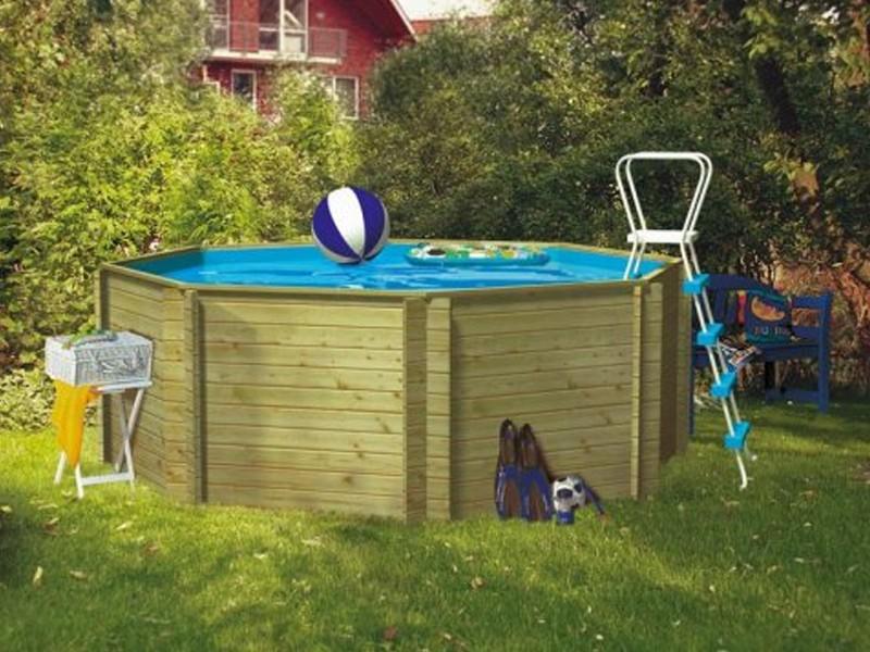 Aktion: Karibu Holz-Pool Swimmingpool Achteck LILIPUT - naturbelassen