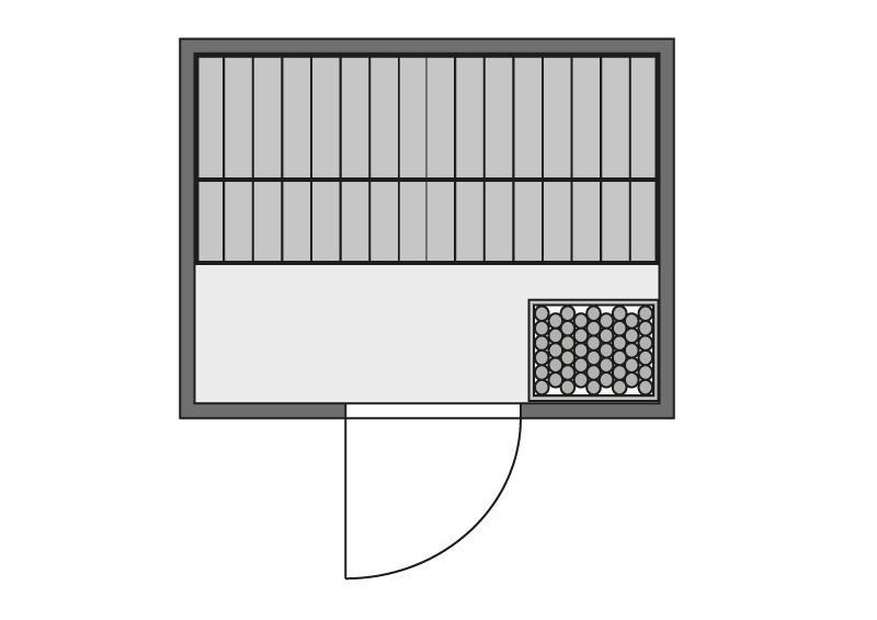 Woodfeeling 38 mm Massiv Sauna Anja Energiespartür (Fronteinstieg) mit Dachkranz