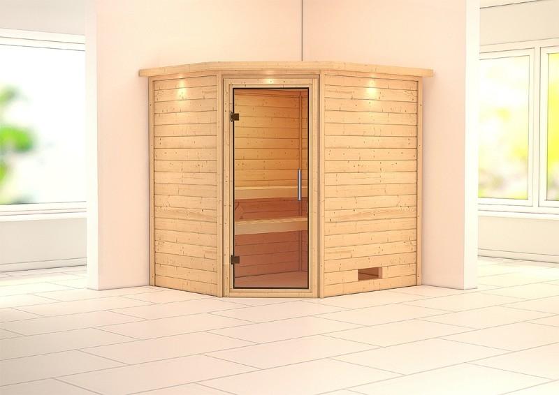 Woodfeeling 38 mm Massiv Sauna Mia Modern (Eckeinstieg) mit Dachkranz und klarglas Ganzglastür