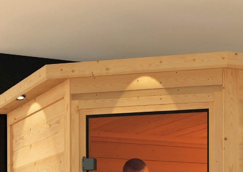 Woodfeeling 38 mm Massiv Sauna Nina Classic (Eckeinstieg) mit Dachkranz und Energiespartür