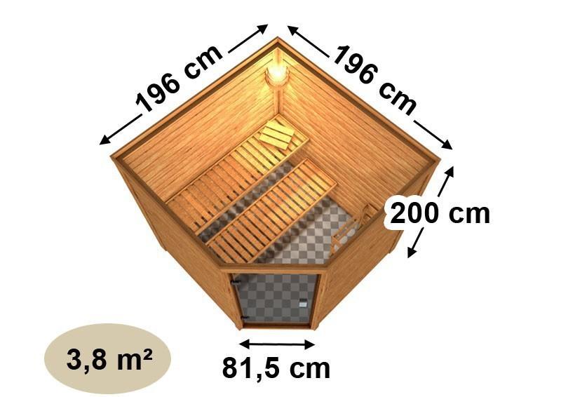Woodfeeling 38 mm Massiv Sauna Nina Classic (Eckeinstieg) mit Dachkranz und graphitfarbender Ganzglastür