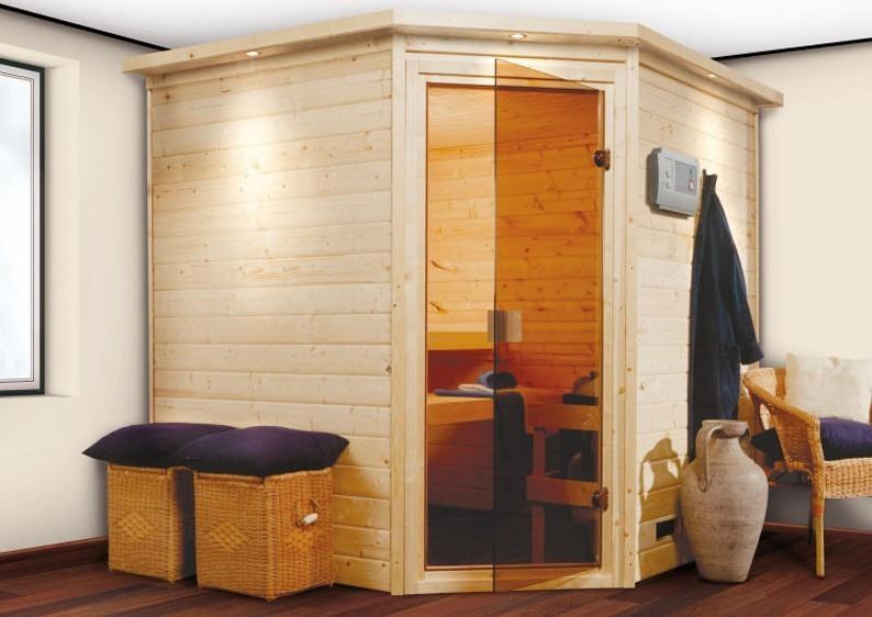 Woodfeeling 38 mm Massiv Sauna Nina Classic (Eckeinstieg) mit Dachkranz und klarglas Ganzglastür