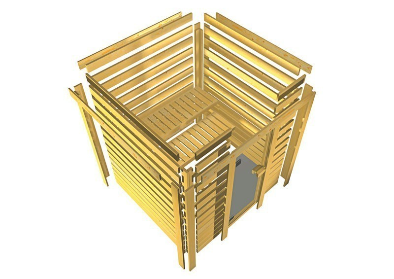 Woodfeeling 38 mm Massiv Sauna Karla Classic (Fronteinstieg) ohne Dachkranz mit klarglas Ganzglastür
