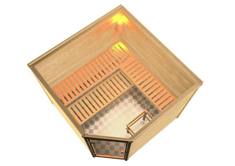 Woodfeeling 38 mm Massiv Sauna Leona Modern (Eckeinstieg) mit Dachkranz und klarglas Ganzglastür