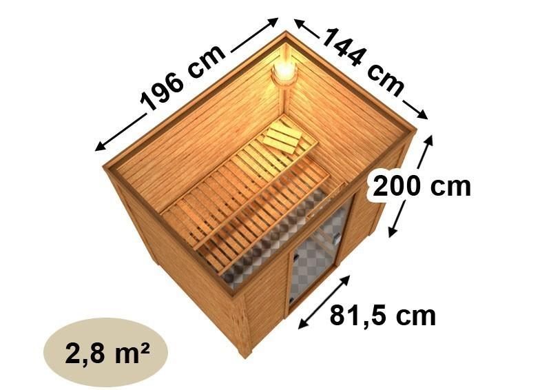 Woodfeeling 38 mm Massiv Sauna Sonja Classic (Fronteinstieg) mit Dachkranz
