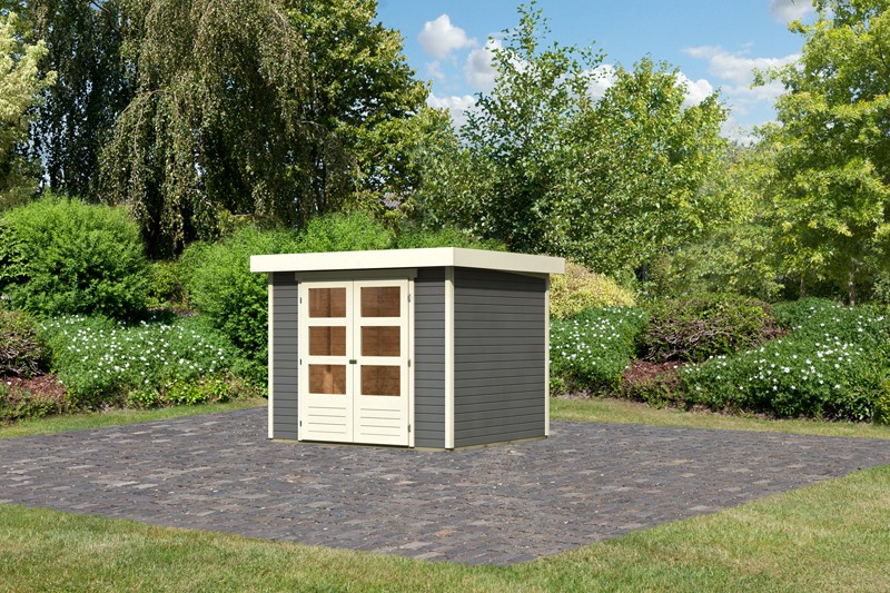 Woodfeeling Karibu Holz-Gartenhaus Askola 3 in terragrau