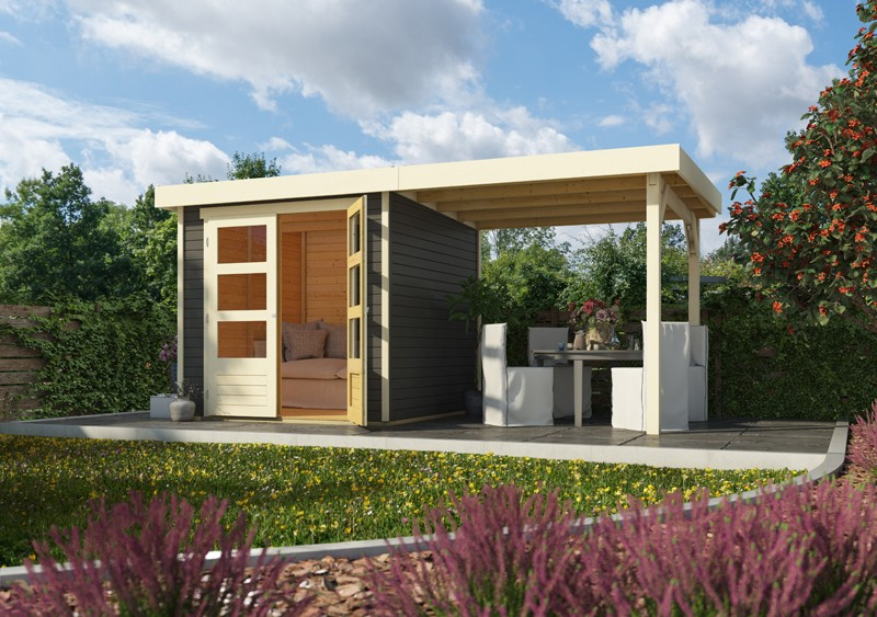 Woodfeeling Karibu Holz-Gartenhaus Askola 2 im Set mit Anbaudach 2,80 m Breite und 19 mm Seiten- Rückwand in terragrau