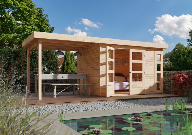 Woodfeeling Karibu Holz-Gartenhaus Kerko 4  im Set mit Anbaudach 2,40 m Breite in naturbelassen (unbehandelt)