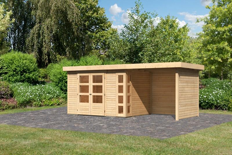 Woodfeeling Karibu Holz-Gartenhaus Kerko 4  im Set mit Anbaudach 2,40 m Breite und 19 mm Seiten- Rückwand in naturbelassen (unbehandelt)