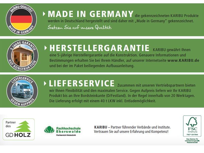 Woodfeeling Karibu Holz-Gartenhaus Kerko 3  im Set mit Anbaudach 2,80 m Breiteund 19 mm Seiten- Rückwand in naturbelassen (unbehandelt)