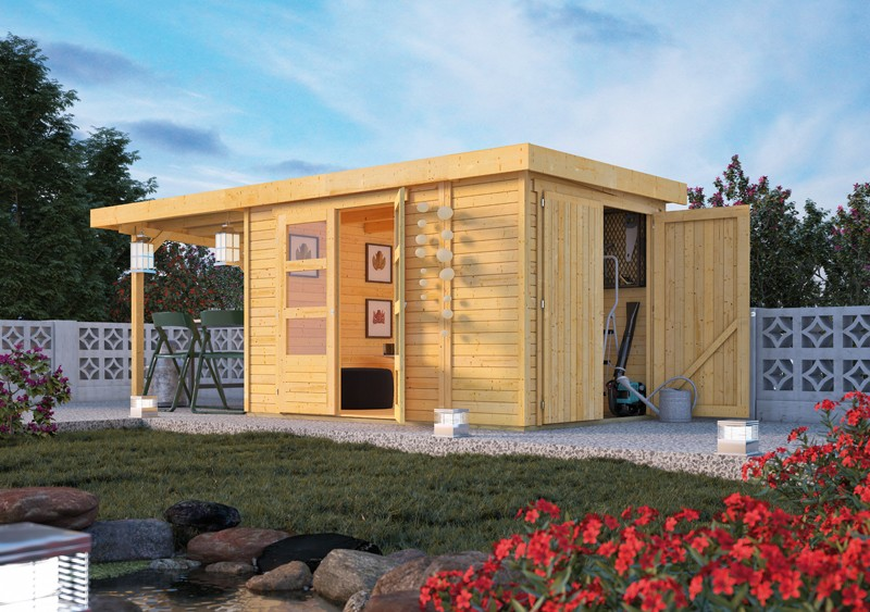 Woodfeeling Karibu Holz-Gartenhaus Retola 3 inkl. Anbauschrank und Anbaudach 2,80 m Breite in naturbelassen (unbehandelt)